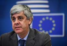 Portuguese Finance Minister And Eurogroup President Mario Centeno Attends The Press Conference Of A Video Meeting