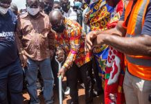 Pres Nana Akuffo Addo Cutting Sod For The Construction Of The Road