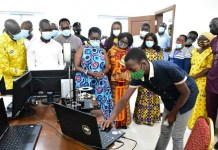 A Student From The Ghana Robotics Academy Foundation Doing A Demonstrating For Mrs Ursula Owusu Ekuful Minister Of Communications And Other Dignitaries