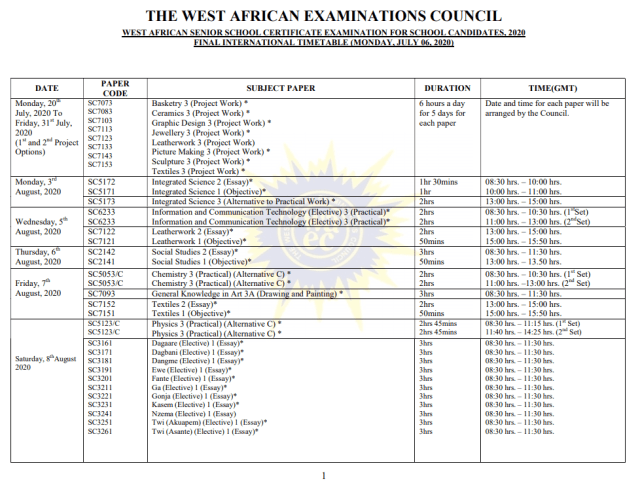 You can now DOWNLOAD the 2020 WASSCE Timetable for July Exams which was postponed because of COVID-19