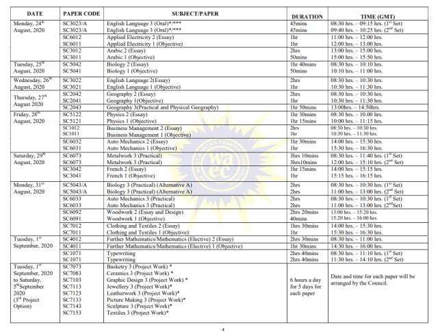 DOWNLOAD JULY 2020 WASSCE TIME TABLE