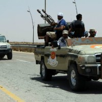Libyan pro-government forces battled against IS in Sirte