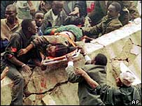 Scene from the aftermath of the Nairobi embassy bombing