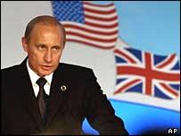 Russia's President Putin at Nato-Russia summit in Italy, 2002