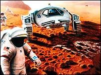 Visión futurística del hombre en Marte (NASA)
