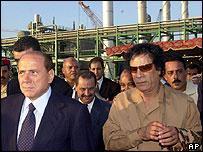 Berlusconi and Gaddafi in 2004