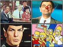 No sentido horário de esquerdo superior: Cliff de Cheers, Mr Bean, Lisa Simpson eo Sr. Spock