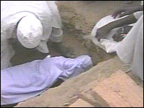 The burial of a boy who has starved to death