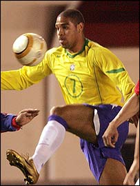 Adriano Playing for Brazil Circa 2002