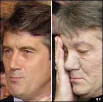 Viktor Yushchenko in July (left) and November 2004