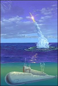 Representación artística del lanzamiento de Cosmos-1 desde un submarino Michael Carroll, Sociedad Planetaria