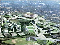 A computer generated image of how the 2012 Olympic Park will look