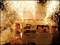 An effigy of a Gypsy caravan on fire during bonfire night