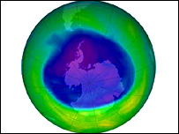 The Antarctic ozone hole at its maximum extent in September 2005 (Nasa)
