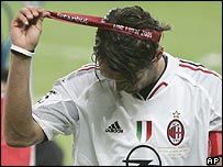 Captain Paolo Maldini shows his disgust after Milan threw away the Champions League final