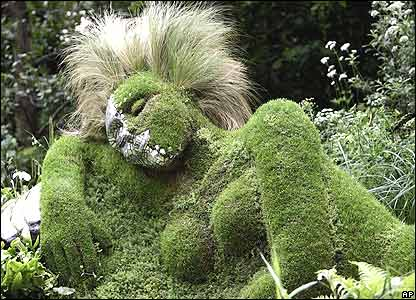 A reclining grassy woman featured in the 4Head Garden of Dreams by designers Marney Hall and Heather Yarrow.