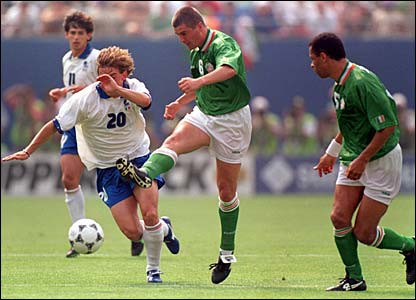 Roy Keane in action against Italy in 1994