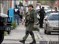 FBI officer on the street in Liberty City, Miami