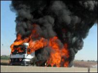 Fuel truck hit in Israeli air strike at Hilaniya on August 5 (Amnesty International)
