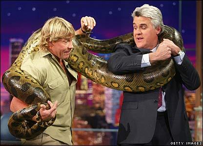Steve Irwin wraps an anaconda snake around Jay Leno