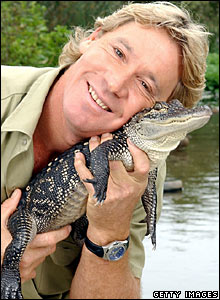 Steve Irwin with an alligator