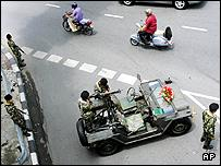 Thai soldiers guard an intersection in Bangkok