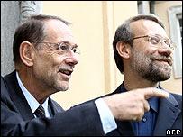 Javier Solana (left) and Ali Larijani in Berlin