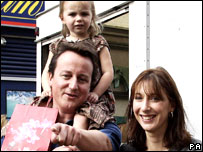 David Cameron out shopping in London with wife Sarah and children