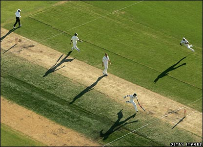 Australian players in bat on day two of the third Ashes Test Match in Perth