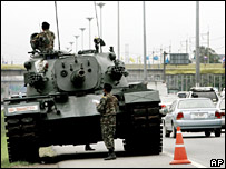 Thai military tank next to a road in Bangkok on 25 September 2006