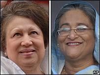 Bangladeshi party leaders Begum Khaleda Zia (left) and Sheikh Hasina