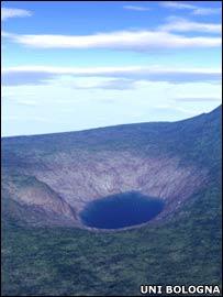 Reconstrucción tridimensional del lago Cheko. Imagen: Universidad de Boloña