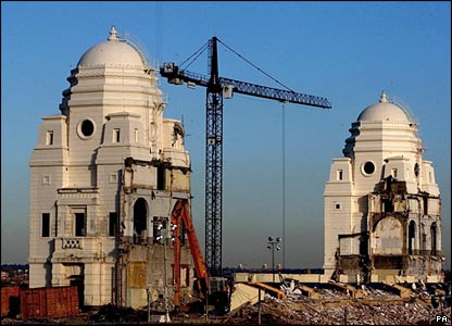 Demolition work on the famous twin towers in 2003