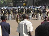 Uganda police block road