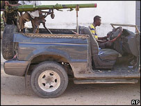 A 'technical' being driven by a Hawiye clan soldier