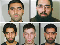 The five men convicted (clockwise: Omar Khyam, Salahuddin Amin, Waheed Mahmood, Anthony Garcia and Jawad Akbar)