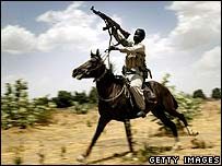 Janjaweed fighter on horseback (File pic, 2004)
