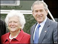 Barbara Bush and her son George W Bush