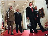 Leaders of the Palestinians, Jordan, the United States and Israel in 1996