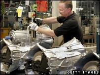 Worker at General Motors plant in Michigan
