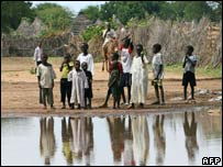 A group of boys at Graida Internally Displaced Peoples camp in southern Darfur