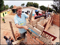Tobias Ellwood, MP for Bournemouth East, helps build at the Girubuntu Project