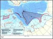 Russian map claiming rights up to North Pole