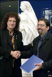 Dr. Brian May with Professor Paul Nandra