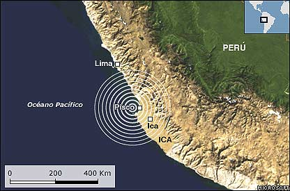 Mapa del epicentro.