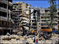 Destroyed buildings in Beirut, summer 2006