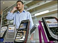 Phones on sale in a shop in Baghdad