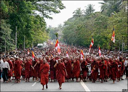 Monks marching through Rangoon.
