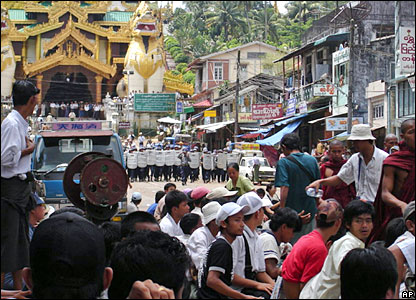 Security forces reportedly surrounded six monasteries in Rangoon, the largest city in this deeply religious country. BBC, AP photo