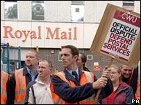 Postal workers on strike in York